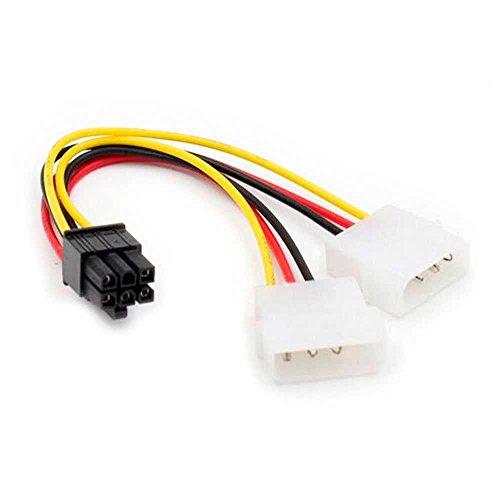 Cable de alimentación tarjeta grafica PCI Express 6 pines hembra a 2x Molex LP4