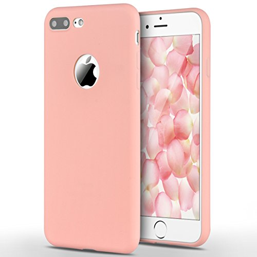 Funda iPhone 7 Plus, Yokata Silicona TPU Pluma Ultra Delgado Ligero Elegante Suave Mate Carcasa Trasera Fantasía Caprichoso Kawaii Adorable Diseño Flexible Case Bumper Resistente a los Arañazos Anti Choque Anti-deslizante Soft Protectora Cover - Candy Rosa