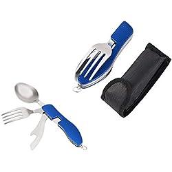 takestop Couverts Pliant Couteau ws2160Multi-usages Suisse Cuillère Fourchette en Acier Inoxydable avec Etui Couleur aléatoire