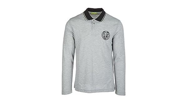 f16806d8912 Versace Jeans t-Shirt Manches Longues col Polo Homme Gris EU 48 (UK 38)  B3GQB7P6  Amazon.fr  Vêtements et accessoires