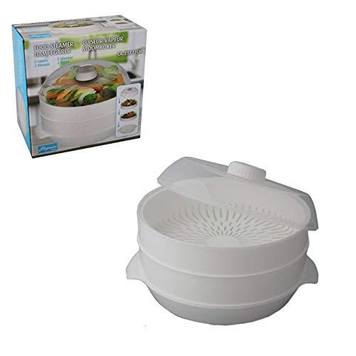 Vaporiera de 2niveles para microondas, 22x 16cm, para la cocción al vapor de arroz, pescado (345 g)