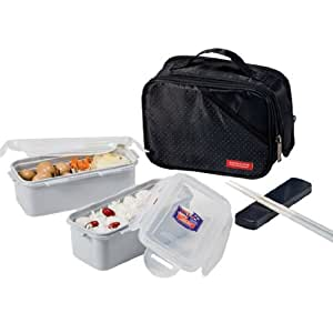 Lock & Lock Bento Lunch Box Set w/spoon&fork Insulated Bag Large HPL762DB (Black)
