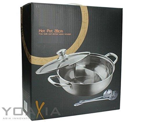 Hot Pot (2 Kammern) mit Glasdeckel und 2 Löffeln 28cm
