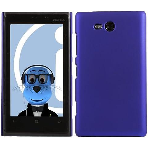 iTALKonline Nokia Lumia 820 BLU Difficile Saluto dura della cassa della pelle Soft Grip Slim