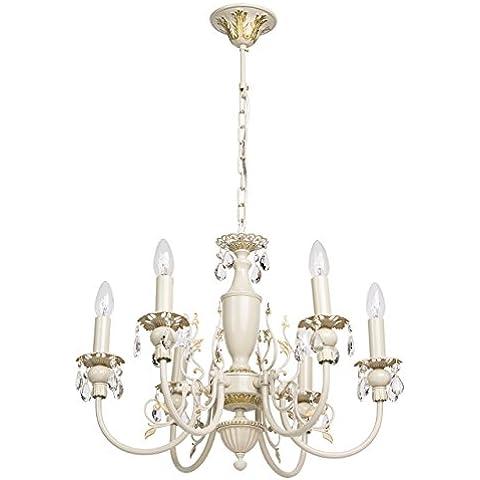 Lampadario da soffitto pendente colore avorio e oro gocce cristalli decorativo in stile barocco Ø58cm 6-bulb exl, E14 6x60W 230V