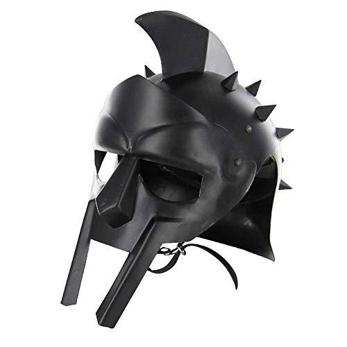 Kostüm Maximus - Sara Nautical Maximus römischer Herren-Gladiator-Helm, Kopfbedeckung aus schwarzem Leder, gefüttert, für Erwachsene, Mittelalter-Kostüm, LARP SCA Party Bekleidung, Halloween-Kostüme