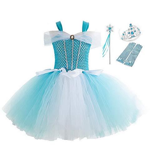 yeesn Mädchen Prinzessin Aurora Kostüm Kostüm Kinder Ballett Tutu Tüll Blumen Regenbogen Verkleidung Geburtstag Hochzeit Halloween Weihnachten Kleider Gr. 2 Jahre, - Elsa Dressing Up Kostüm
