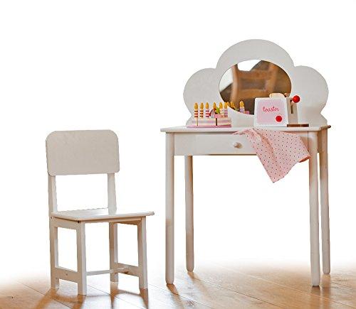 Klassischer Schminktisch mit Stuhl für Kinder, Weiß -