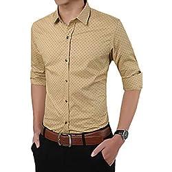 IYFBXl Camisa básica/Elegante de los Hombres - Lunares, de Color Caqui, XXL