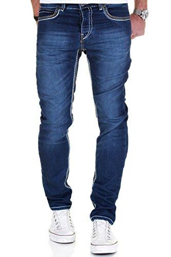 Merish Jeans Herren Dicke Kontrastnaht Used bleached Hose dark Blue Neu 1710 Dunkelblau 32-32