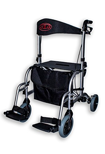 FabaCare Premium Hybrid-Rollator Aluminium, Rollator und Rollstuhl in einem, Transportstuhl, faltbar, mit Spezialversiegelung