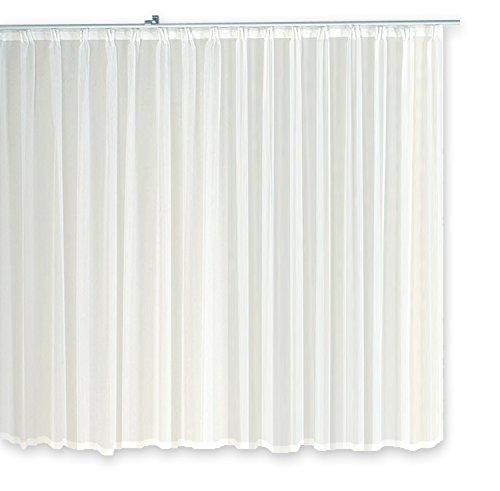 Voile Dekoschal Gardine Emotion weiß 300x175 cm Organza Vorhang Kräuselband klassisch transparent mit beschwertem Abschlußband Mittelstore #1309 (300x175)