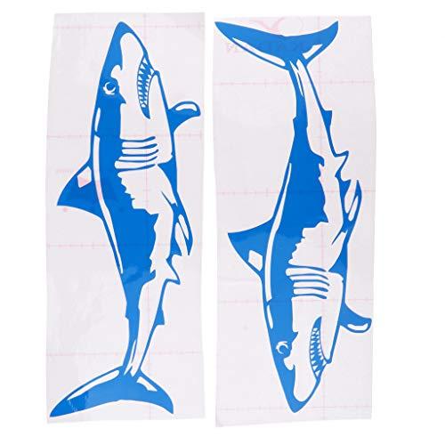 Descripción:       - Calcomanías adhesivas de 2 piezas de tiburón, frescas y atractivas    - Impermeable, autoadhesivo, muy resistente y duradero, recibirá golpes de muelles y remolques y agua salada    - Fácil de aplicar, solo retire el pape...