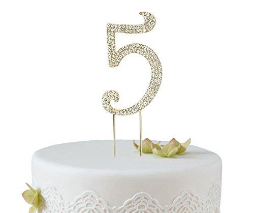 BABEYOND Kuchen Topper Silber oder Gold Farbton Rhinestone Kristall Zahlen Torten Topper für Geburtstag Party Hochzeitstag Jubiläum Kuchenaufsätze Dekoration (Gold-5)