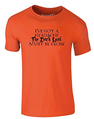 Brand88 - You-Know-Who Must Be Close, Erwachsene Gedrucktes T-Shirt Orange/Schwarz