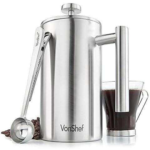 VonShef Cafetière Edelstahl Kaffeebereiter Kaffeefilter mit Messlöffel und Beutelclip - 3 / 6 / 8 Tasse (8