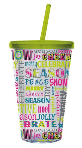Spirit Of The Season 17 oz. Insulated Cup with Straw Evergreen Cup