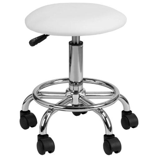 HinHocker - Arbeitshocker mit runder, gepolsterter Sitzfläche, weiß, Kosmetikhocker