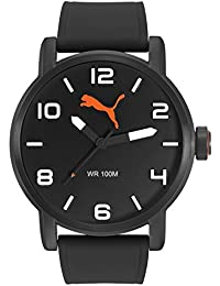 PUMA Alternative Round Men's Quartz Watch with Black Dial Analogue Display and Black Silicone Strap PU104141001