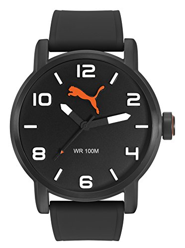Puma Alternative Round - Reloj análogico de cuarzo con correa de silicona para hombre, color negr
