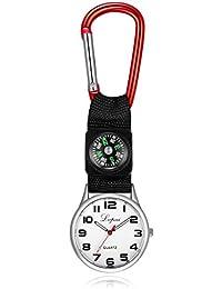 Aleación Mosquetón Enfermera Reloj Belt Clip Watch Enfermera Relojes de bolsillo Belt Hook Clip Túnica (Rojo)