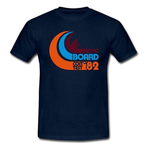 Spreadshirt Surfen Longboard Männer T-Shirt, XL, Navy