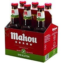 Mahou Cerveza Lager Nacional sin Gluten - Pack de 6 Botellas x 330 ml - Total