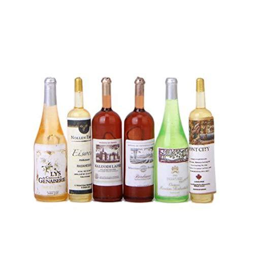 AAGOOD 01.12 Puppenhaus gewöhnliche Weinflasche 6 setsTiny Flasche Set Mini House Crafts Miniatur-Wiedergabe S -