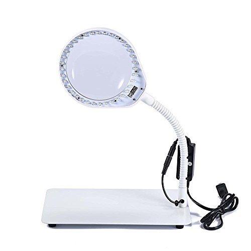 Joyutoy Laptop Flexible Lupe LED Schreibtisch Lampe USB kabelgebunden, leistungsstark 3x 5x 8x 10x Lupe, stufenlos Verstellbar und Extra Helle LED-Lichter 10X Weiß - Licht Arc Stehlampe