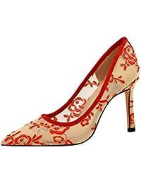 TYXWF Los Tacones Altos de Las Mujeres Sexy Encaje Pointy Toe Vestido de Novia Zapatos de