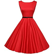 Vestidos Vintage Mujer Años 50 LHWY, Vestidos Retro De Cuello Redondo Hepburn Color SóLido Vestidos Talla Grande De Fiesta Elegantes Verano