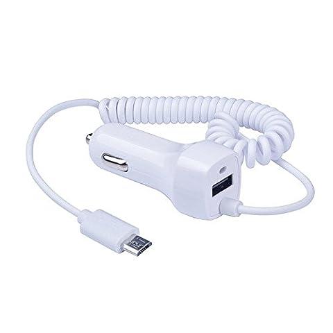 Chargeur de voiture ultra rapide rapide Youji® Micro pour Samsung Galaxy S7 S6 S5 S3 S4 Note 2 Note 3 Câble enroulé (blanc 2.1A)