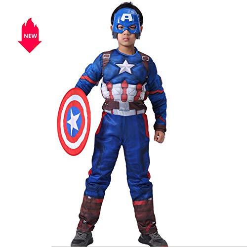 LJYA Kinder Halloween Kostüm Muskeln Captain America Cosplay Bühnenkleider enthält Masken, M