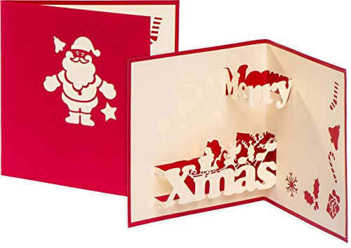 3D Weihnachtskarte Merry Xmas 3D Pop up, handgefertigt, Nikolaus, Weihnachtsmann, Weihnachtskarten, Grußkarte, Frohe Weihnachten