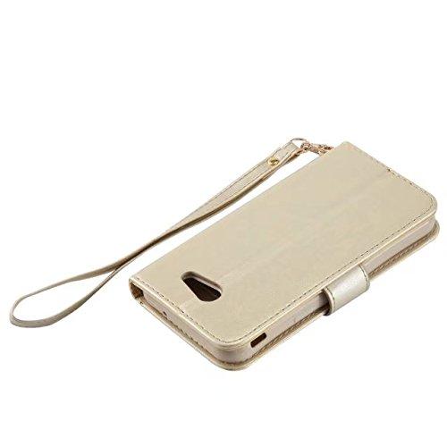 Horrizontal Folio Stand PU Ledertasche, Geldbörse Geldbörse Abdeckung Fall mit Lumious Shining Effekt & Lanyard für Samsung Galaxy J3 2017 ( Color : Gold ) Gold