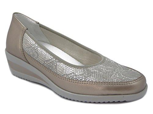 ARA Scarpa donna, decolletè in pelle liscia e stampata colore platino, sottopiede estraibile, zeppa 4cm., 1234020 E17