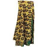 Mogul Interior Womens Wrap Long Skirt Brown Printed Two Layer Silk Sari Beach Reversible Skirts