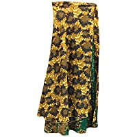 Mogul Interior Womens Wrap Long Skirt Brown Printed Two Layer Silk Sari Beach Reversible Skirts