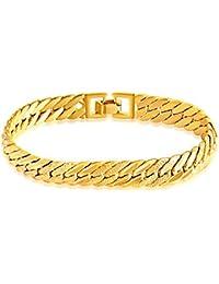 38968213fc46 MGS Pulseras Hombre Cadenas y esclavas Brazalete - Chapado en Oro Estilo  Simple