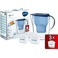 BRITA Marella - Jarra de agua filtrada con 3 cartuchos MAXTRA+. filtro de agua BRITA de color azul que reduce la cal y el cloro, agua filtrada sin impurezas para un sabor excelente