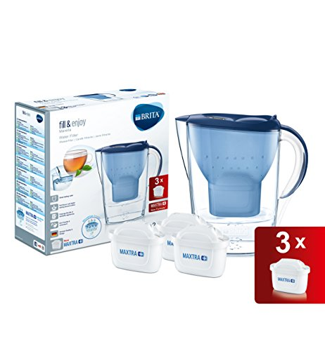 BRITA Marella Cool Water Filter Jug and Cartridges Starter Pack, Blue