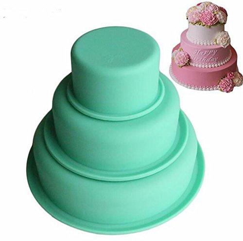 yoyostore 3Etagen rund Silikon Kuchen Formen Schicht Kuchen, Pizza Pan für Geburtstag Party Hochzeit Jahrestag Fall Container Tube Kunstharz Formen Pan-container