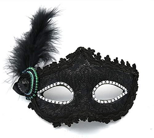 HuanXin Party Maske Spitze Seite Feder Gemalt Maske Make-up Halbe Gesichtsmaske Halloween Maske Dekoration
