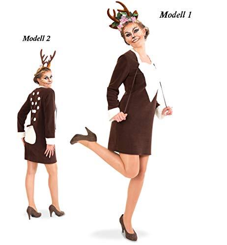 Kostüm Und Fabeln Märchen - KarnevalsTeufel Damenkostüm-Set Rehlein Kleid inkl. Haarreif, Geweih Rentier Karneval Märchen Tierkostüm (40 - Modell 1)