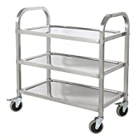 HLC Stainless Steel 3 Tier Kitchen Car Shelf Utility/Service Cart Kitchen Trolley Kitchen Cart with Wheels 75 x 40 x 83.5CM