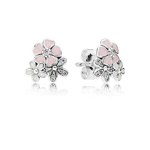 Stone beads orecchini con fiori dipinti, argento 925