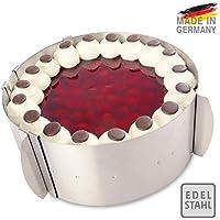 CERCLE A PATISSERIE Tondo réglable de 4smile – Made in Germany | cadre pâtisserie Ø de 16 cm à 30 cm avec une graduation intérieure | idéal pour créer et décorer des gâteaux et des pâtisseries ǀ en acier inoxydable