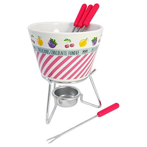 COM-FOUR® Juego de fondue de cerámica en diferentes colores, con 4 tenedores de fondue y más cálido, 350 ml (06-parte - mezcla de colores)