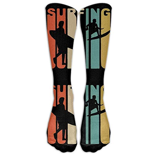 Zengyan Retro 1970's Style Surfer Casual Unisex Sock Knee Long High Socks Sport Athletic Crew Socks One Size -