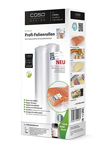 Foodsaver Beutel Rollen (CASO Profi- Folienrollen 28x600 cm (1223) / 2 Rollen mit Etiketten für alle Balken Vakuumierer geeignet / Kochfest - Mikrowellen geeignet - Sous Vide geeignet / stabile Schweißnaht / Materialstärke ca. 160 µm / kostenlose Food-Manager App)